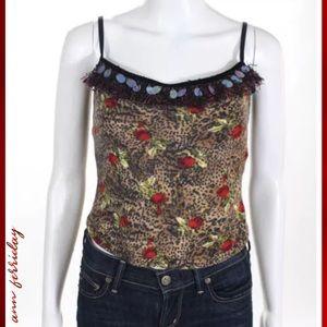ANN FERRIDAY Blk/Tan Floral Detail Sequin Trim Top